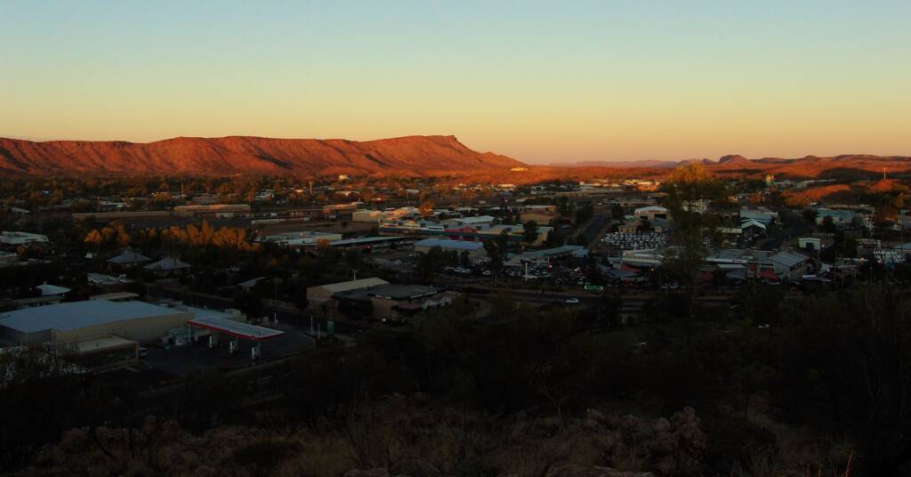 Sunset view west over Alice Springs and beyondeyond