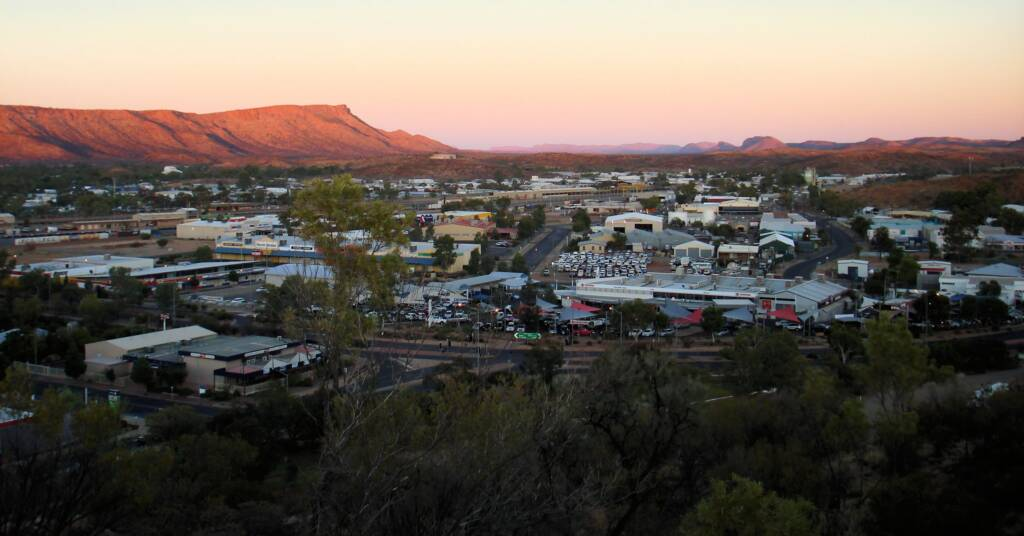 Sunset view west over Alice Springs and beyond