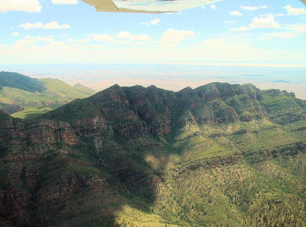 View over Wilpena Pound and out to salt lake